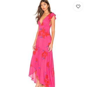 NWT Free People high low pink waterfall dress